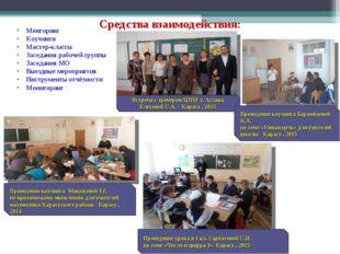 Средства взаимодействия: Менторинг Коучинги Мастер-классы Заседания рабочей г