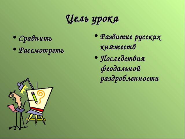 Цель урока Развитие русских княжеств Последствия феодальной раздробленности С...
