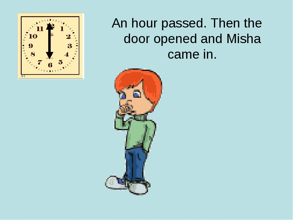An hour passed. Then the door opened and Misha came in.