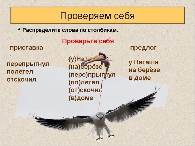 Проверяем себя Распределите слова по столбикам. приставка (у)Наташи (на)берёз...