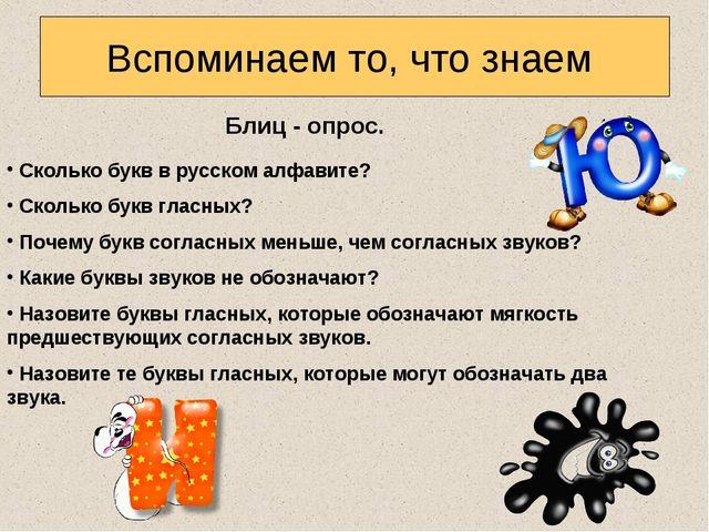 Вспоминаем то, что знаем Блиц - опрос. Сколько букв в русском алфавите? Сколь...