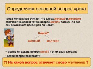 Определяем основной вопрос урока Вова Колесников считает, что слова жёлтый и
