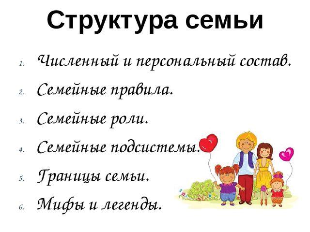 Структура семьи Численный и персональный состав. Семейные правила. Семейные р...