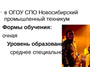 в ОГОУ СПО Новосибирский промышленный техникум Формы обучения: очная Уровень
