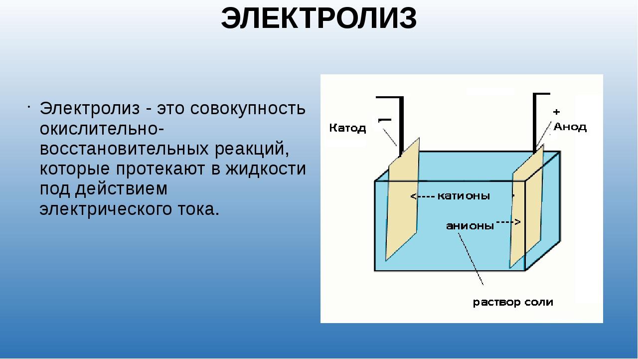 ЭЛЕКТРОЛИЗ Электролиз - это совокупность окислительно-восстановительных реакц...