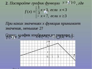 2. Постройте график функции , где При каких значениях х функция принимает зна