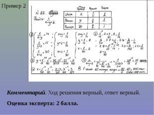 Пример 2 Комментарий. Ход решения верный, ответ верный. Оценка эксперта: 2 ба