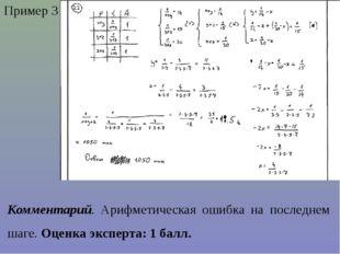 Пример 3 Комментарий. Арифметическая ошибка на последнем шаге. Оценка эксперт