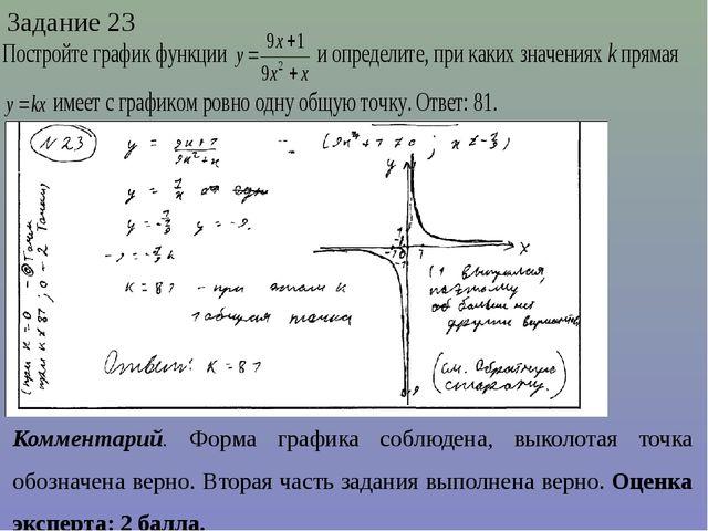 Задание 23 Комментарий. Форма графика соблюдена, выколотая точка обозначена в...