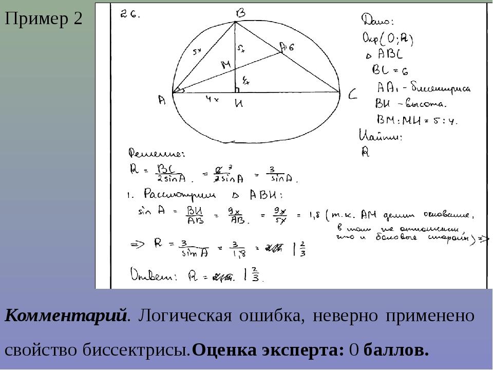 Пример 2 Комментарий. Логическая ошибка, неверно применено свойство биссектри...