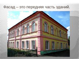Фасад – это передняя часть зданий.