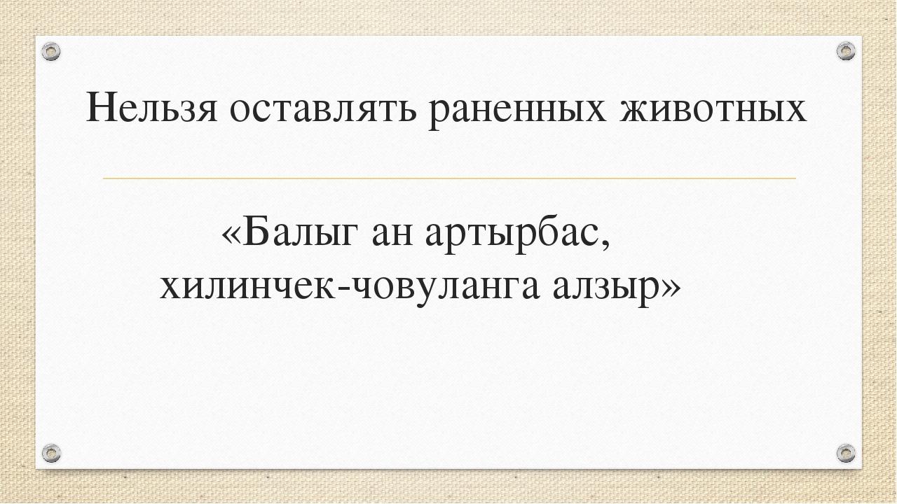 «Балыг ан артырбас, хилинчек-човуланга алзыр» Нельзя оставлять раненных живот...