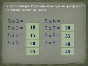 Решите примеры. Результаты произведений распределите на чётные и нечётные чи