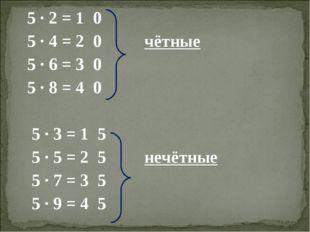 5 ∙ 2 = 1 0 5 ∙ 4 = 2 0 чётные 5 ∙ 6 = 3 0 5 ∙ 8 = 4 0 5 ∙ 3 = 1 5 5 ∙ 5 = 2