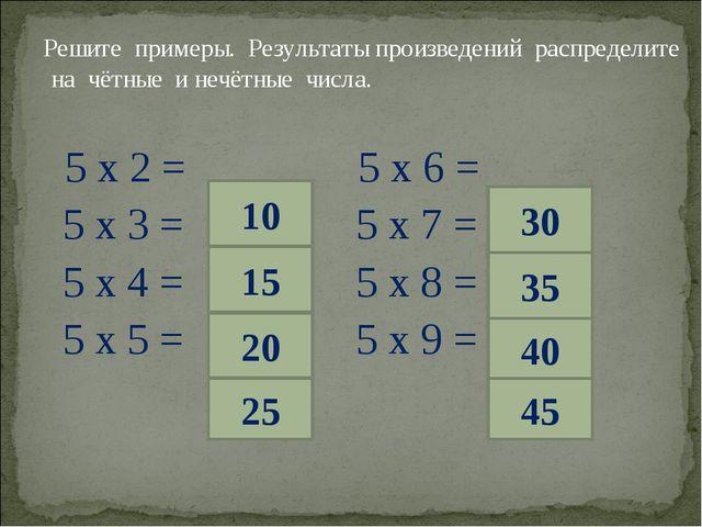 Решите примеры. Результаты произведений распределите на чётные и нечётные чи...
