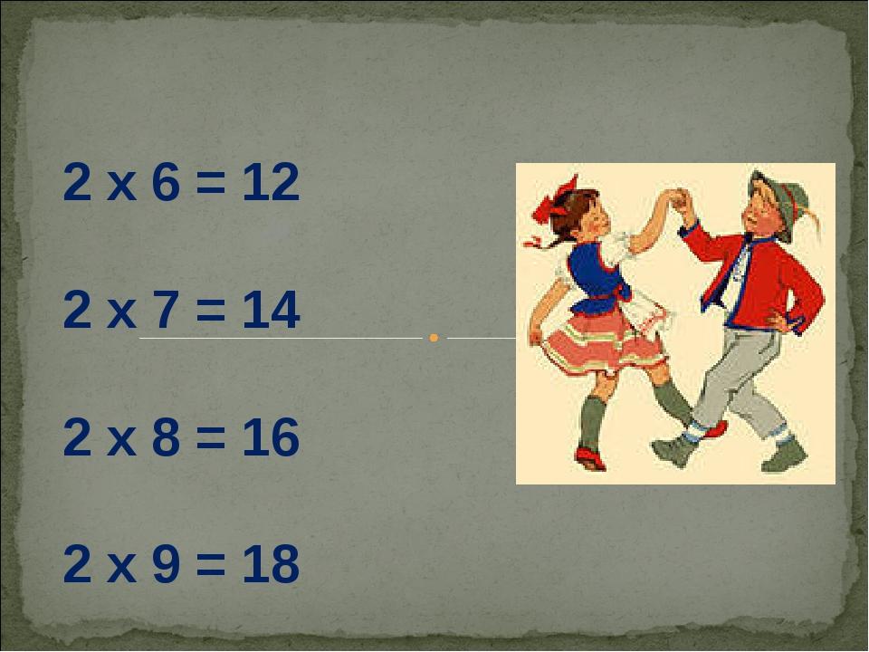 2 х 6 = 12 2 х 7 = 14 2 х 8 = 16 2 х 9 = 18