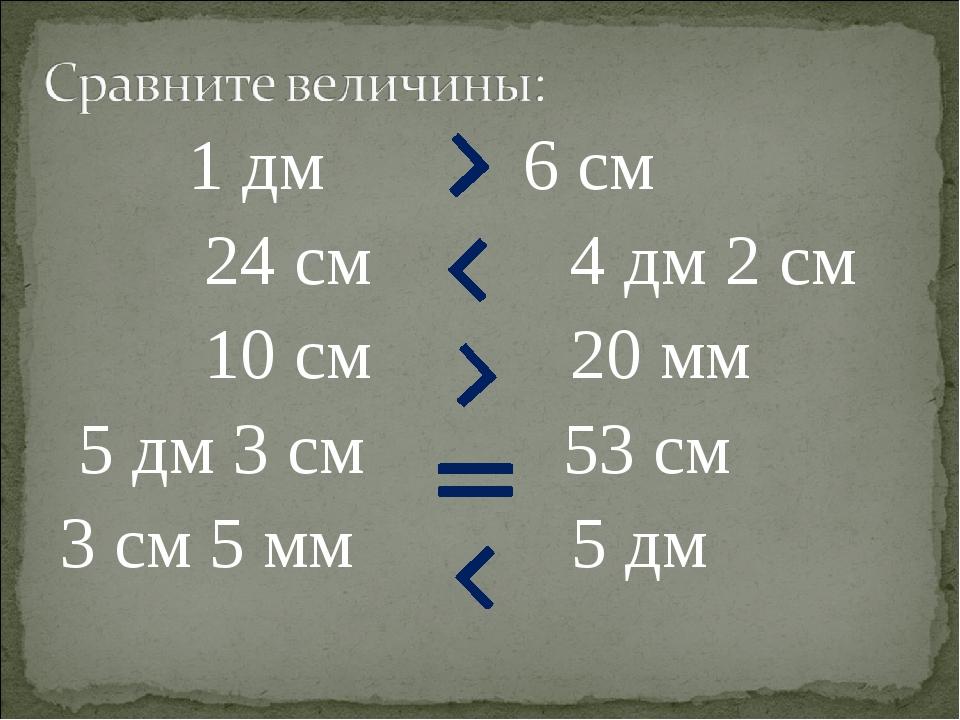 1 дм 6 см 24 см 4 дм 2 см 10 см 20 мм 5 дм 3 см 53 см 3 см 5 мм 5 дм