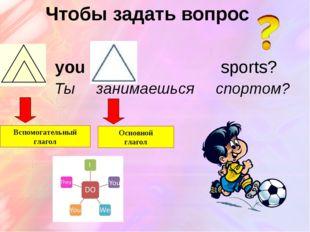 Чтобы задать вопрос Do you play sports? Ты занимаешься спортом? Вспомогательн