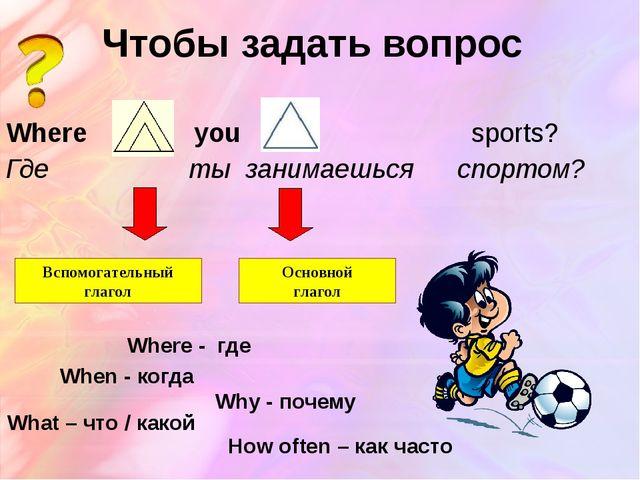 Чтобы задать вопрос Where do you play sports? Где ты занимаешься спортом? Всп...