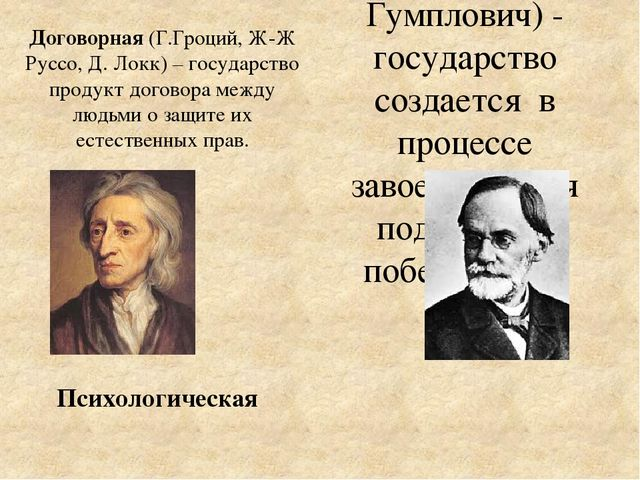 Договорная (Г.Гроций, Ж-Ж Руссо, Д. Локк) – государство продукт договора межд...