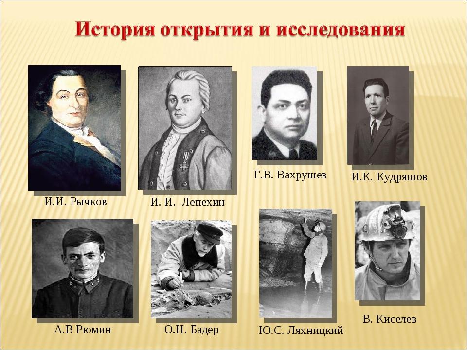 А.В Рюмин И. И. Лепехин И.И. Рычков Г.В. Вахрушев И.К. Кудряшов О.Н. Бадер В...