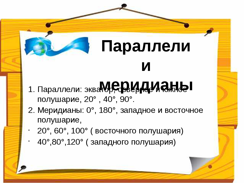 1. Параллели: экватор, северное и южное полушарие, 20° , 40°, 90°. 2. Мериди...