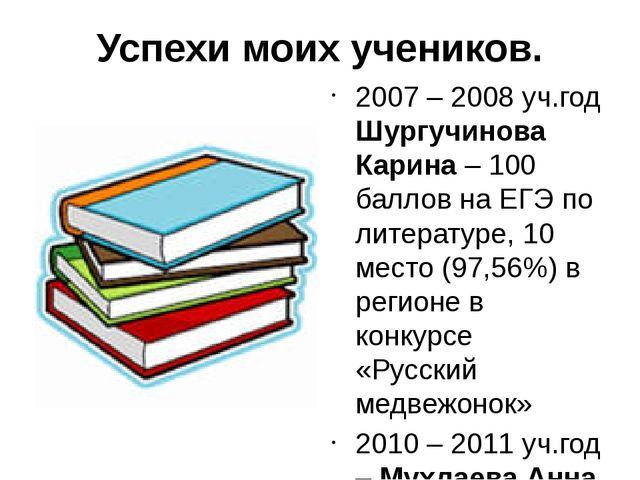 Успехи моих учеников. 2007 – 2008 уч.год Шургучинова Карина – 100 баллов на Е...
