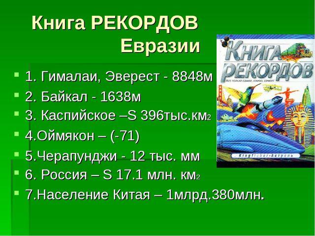 Книга РЕКОРДОВ Евразии 1. Гималаи, Эверест - 8848м 2. Байкал - 1638м 3. Каспи...