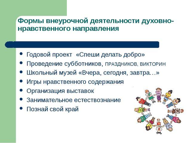 Формы внеурочной деятельности духовно- нравственного направления Годовой прое...