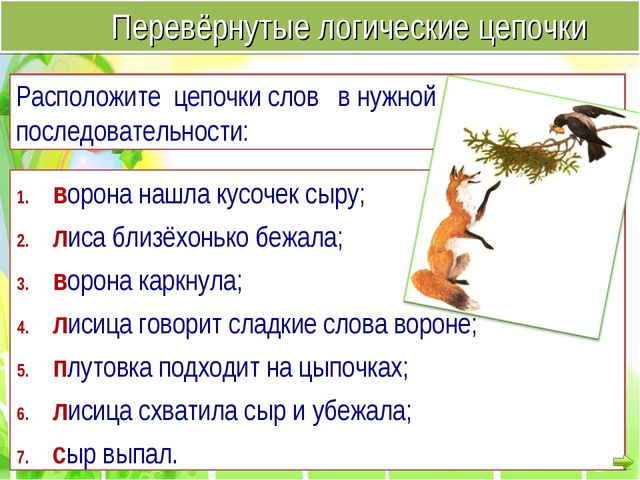 ворона нашла кусочек сыру; лиса близёхонько бежала; ворона каркнула; лисица г...