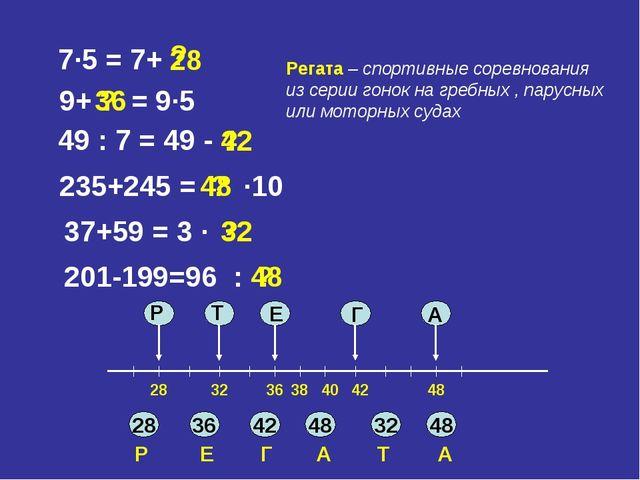 7∙5 = 7+ 9+ = 9∙5 49 : 7 = 49 - 235+245 = ∙10 37+59 = 3 ∙ 201-199=96 : 28 ? ?...