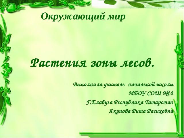 Окружающий мир Растения зоны лесов. Выполнила учитель начальной школы МБОУ СО...
