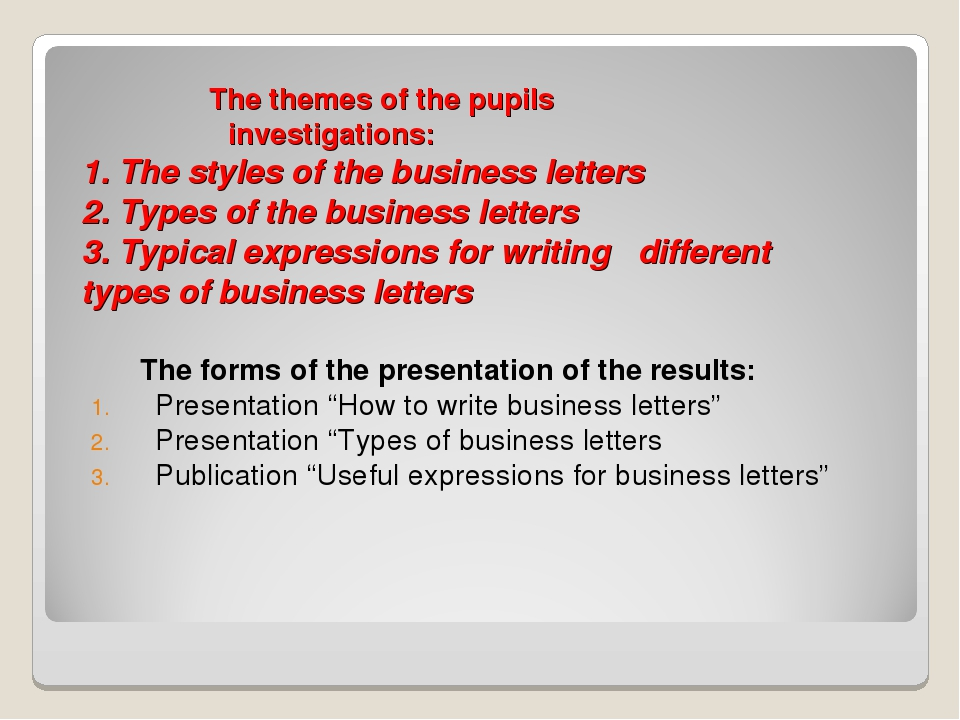 The themes of the pupils investigations: 1. The styles of the business lette...