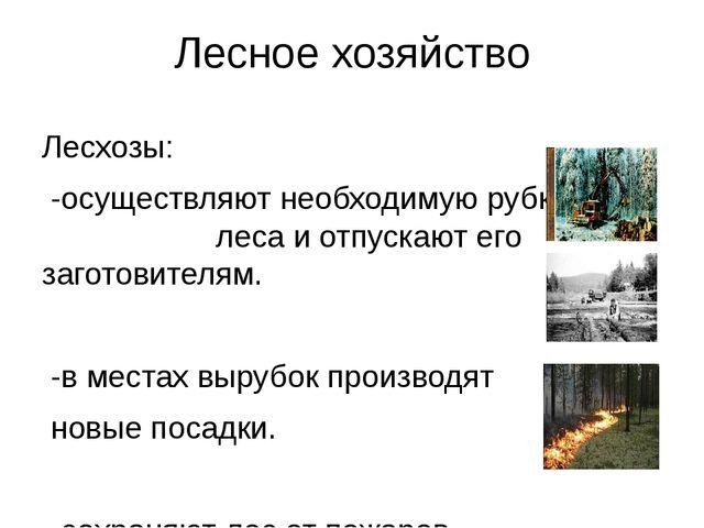 Лесное хозяйство Лесхозы: -осуществляют необходимую рубку леса и отпускают ег...