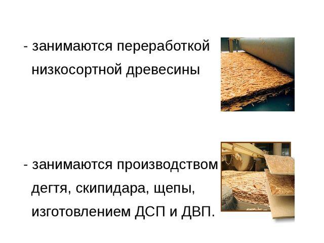 - занимаются переработкой низкосортной древесины - занимаются производством...