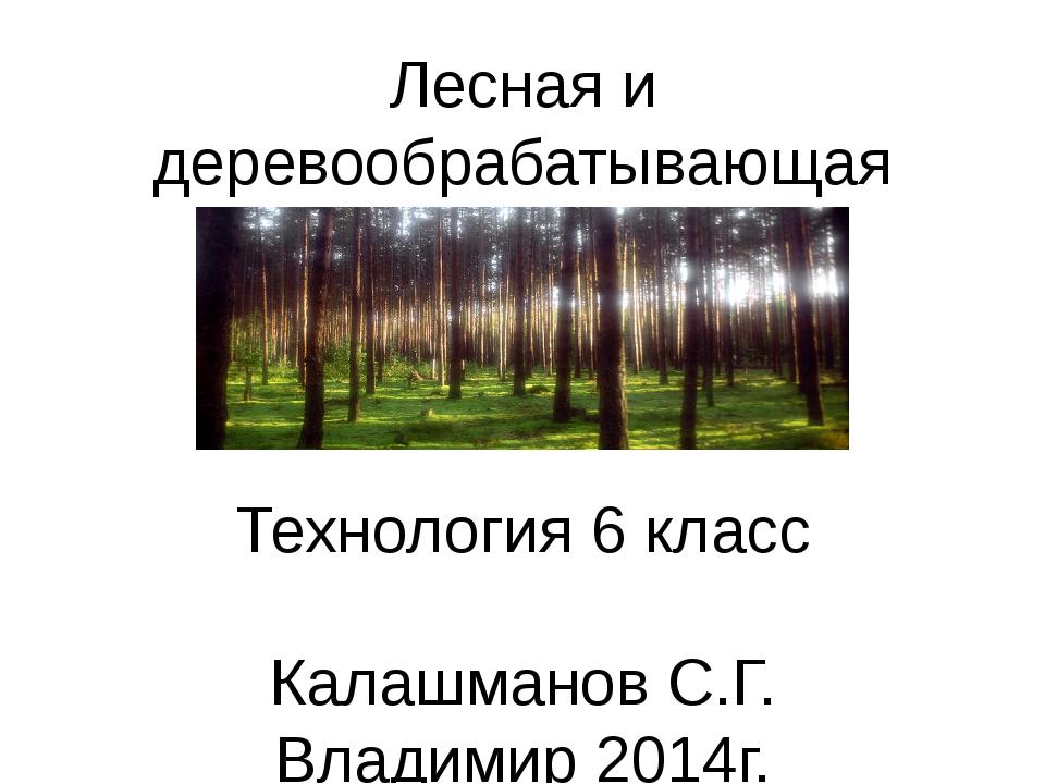 Лесная и деревообрабатывающая промышленность Технология 6 класс Калашманов С....