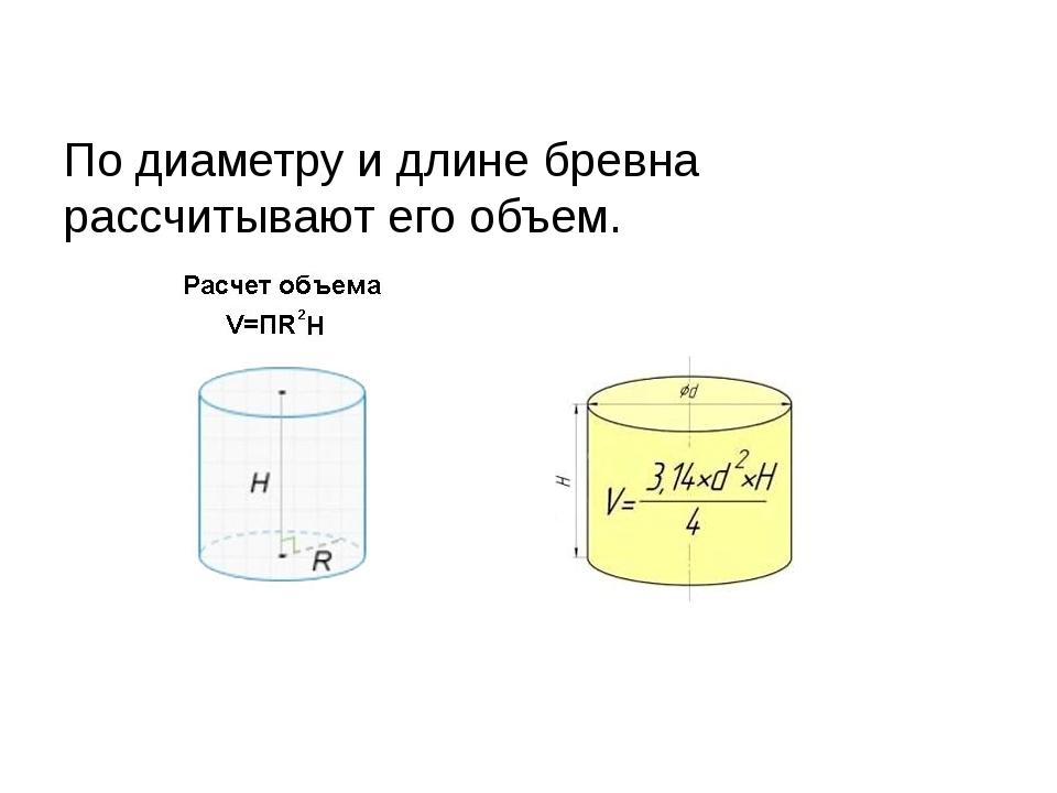 По диаметру и длине бревна рассчитывают его объем.