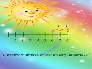 - Покажите на числовом отрезке как получить число 7,8? 1 2 3 4 5 6 7 8 + 1 + 1