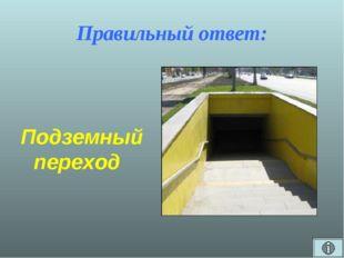 Правильный ответ: Подземный переход