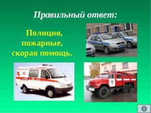 Правильный ответ: Полиция, пожарные, скорая помощь.