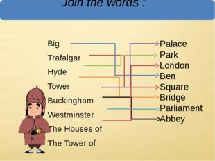 Join the words : Big Trafalgar Hyde Tower Buckingham Westminster The Houses