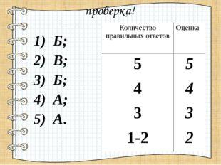 проверка! 1) Б; 2) В; 3) Б; 4) А; 5) А. Количество правильных ответов Оценка