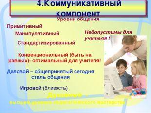 4.Коммуникативный компонент Духовный - высший уровень педагогического мастер