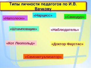 Типы личности педагогов по И.В. Вачкову «Наполеон» «Нарцисс» «Самодур» «Штамп