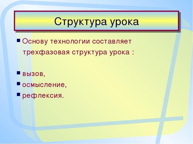 Структура урока Основу технологии составляет трехфазовая структура урока : вы...