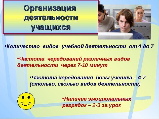 Организация деятельности учащихся Количество видов учебной деятельности от 4...