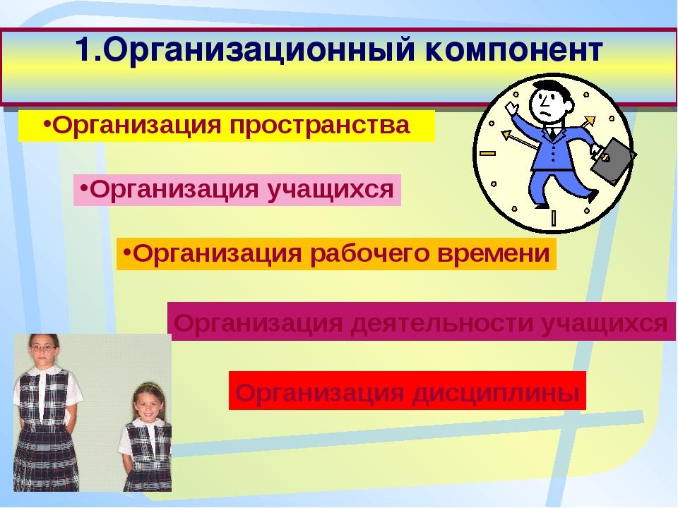 1.Организационный компонент Организация пространства Организация учащихся Орг...