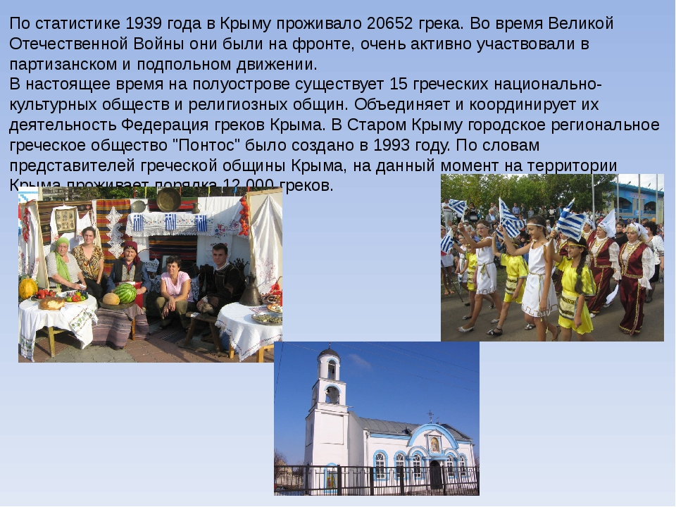 По статистике 1939 года в Крыму проживало 20652 грека. Во время Великой Отече...