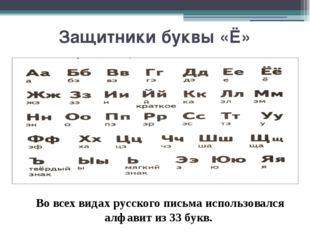 Защитники буквы «Ё» Во всех видах русского письма использовался алфавит из 33