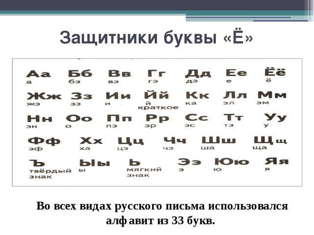 Защитники буквы «Ё» Во всех видах русского письма использовался алфавит из 33...